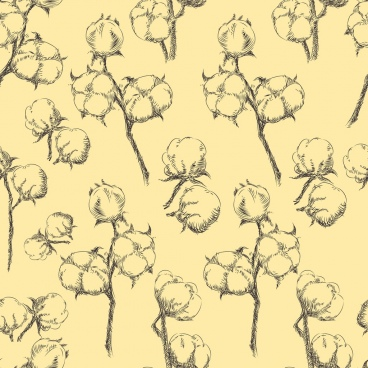 cotton flowers background handdrawn sketch repeating design