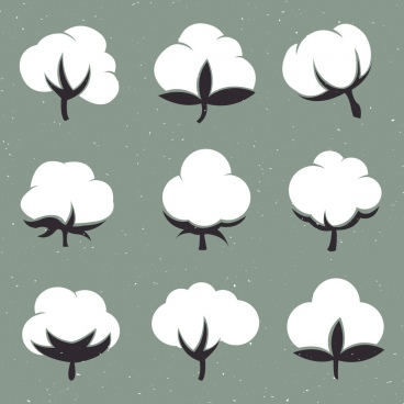 cotton flowers isolation flat black white design