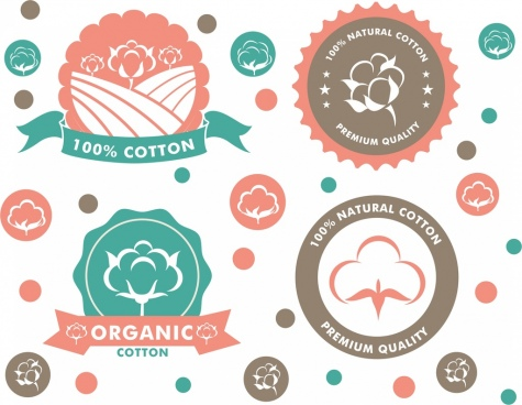 cotton product labels collection various circle shapes