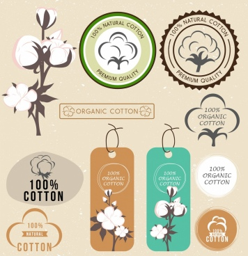 cotton signs collection flower icon various shapes isolation