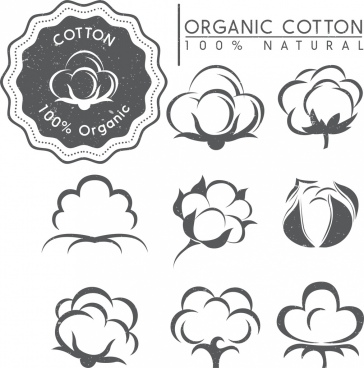 cotton tags design elements various retro flowers icons