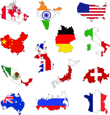countries flags and map design vector