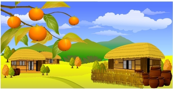 countryside scene painting classical multicolored decor