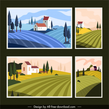 countryside background templates colorful classic field houses sketch