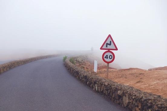 countryside danger direction fog grass highway home