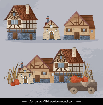 countryside design elements classic farm house agriculture sketch