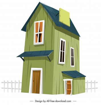 countryside house template wooden decor colored 3d sketch