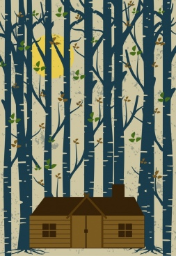countryside landmark background cottage trees icons retro design