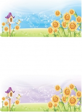 countryside background sets sunflowers bird nest icons decor