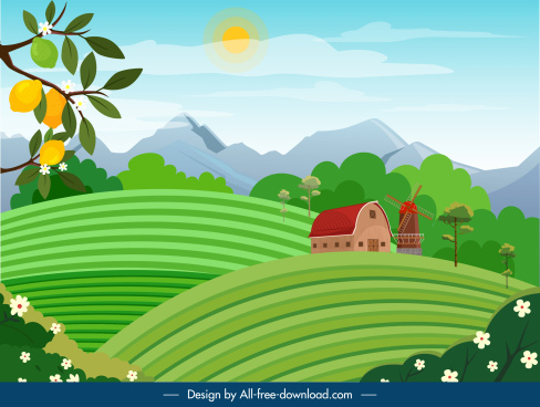 countryside landscape background colorful cartoon sketch