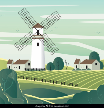 countryside landscape painting windmills farm sketch