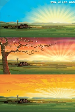 rural landscape backgrounds sunrise theme colorful modern design