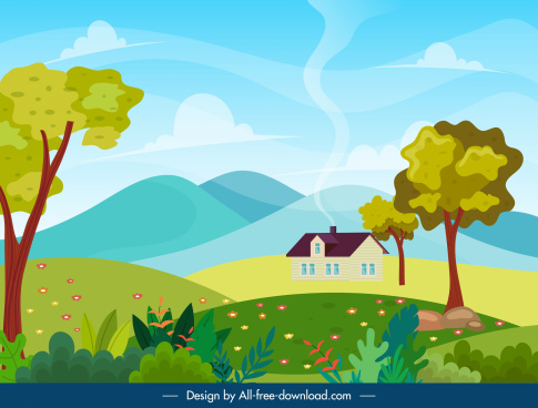 countryside scene painting bright colorful classic design