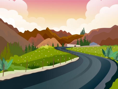countryside scenery painting mountain road field icons decor