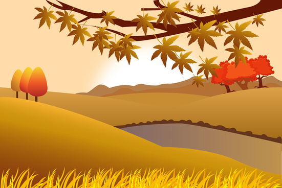 countryside scenery vector illustration