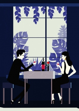 couple dating drawing restaurant interior colored cartoon design