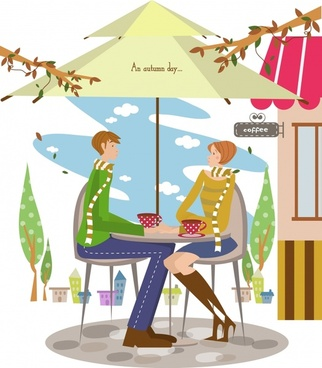 relaxed couple vector autumn coffee theme multicolored design