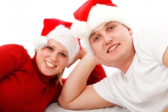 couple in santa hats
