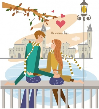 dating couple background romantic decor cartoon characters