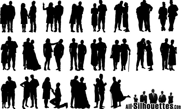 couple silhouette clipart