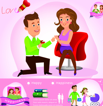 couples and business infographics vector
