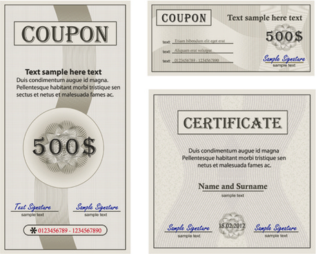 coupon with certificate templates vector