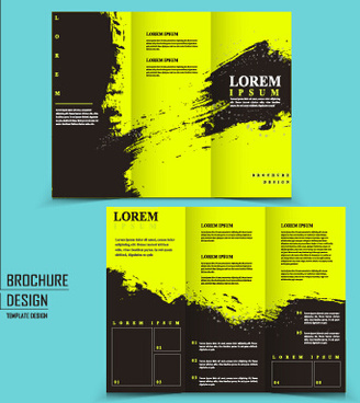 cover brochure black with green grunge vector