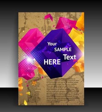 brochure cover template sparkling modern 3d cubes decor