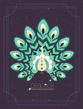 cover template peacock icon decor dark retro design
