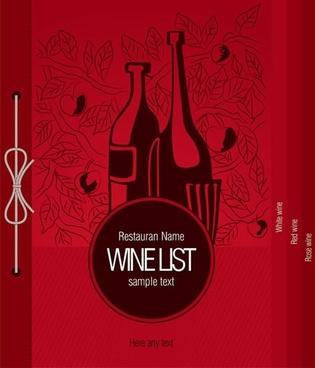 wine menu cover template dark flat classic design