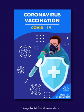 covid19 banner template fighting doctor shield viruses sketch