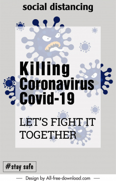 covid19 poster template stylized viruses sketch blurred design