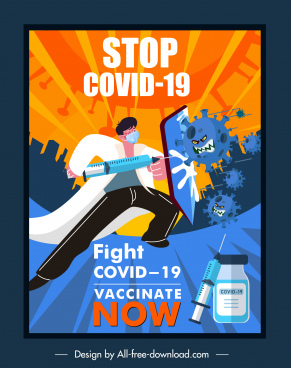 covid19 vaccination banner fighting doctor virus dynamic cartoon