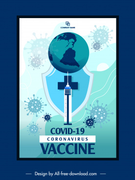 covid19 vaccination banner viruses globe injection needle sketch