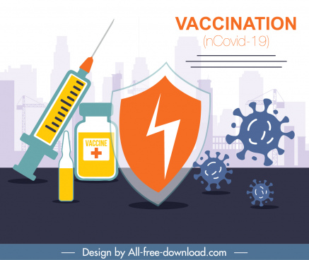 covid19 vaccination banner viruses shield medical elements sketch