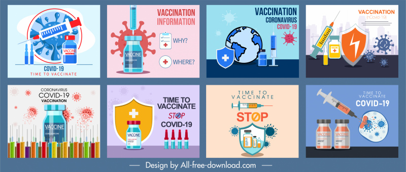 covid19 vaccination banners medical elements sketch