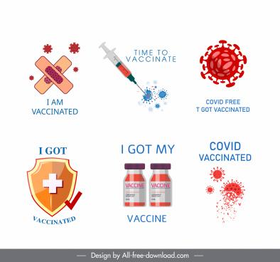 covid19 vaccination design elements virus medical symbols sketch