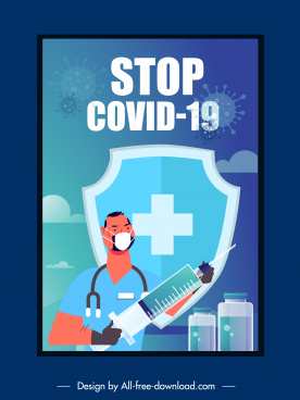 covid19 vaccination poster fighting doctor shield vaccine sketch