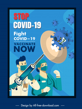 covid19 vaccination poster fighting doctors viruses sketch