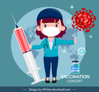 covid19 vaccination poster injection needle doctor virus sketch