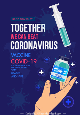 covid19 vaccination poster medical elements viruses sketch