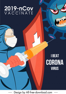 covid19 vaccination poster template virus fighting sketch