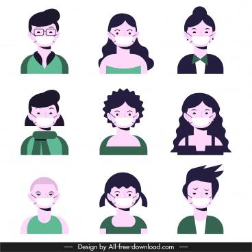 covid 19 avatars icons masking faces sketch