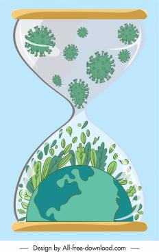 covid 19 background sandglass viruses green earth sketch