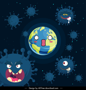covid 19 background stylized viruses earth sketch