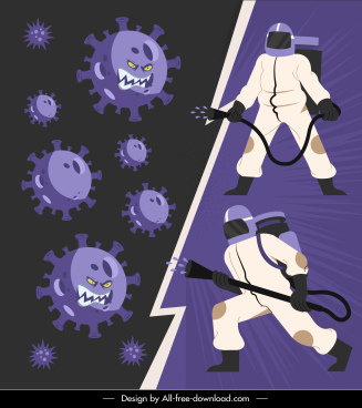 covid 19 banner antiseptic staffs stylized viruses sketch
