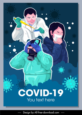 covid 19 banner doctor patient virus icons sketch