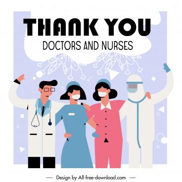 covid 19 banner doctors nurses combination sketch