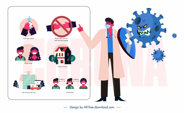 covid 19 banner instruction doctor virus sketch