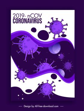 covid 19 banner template contrast violet viruses sketch